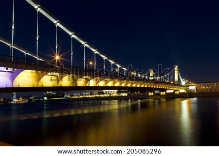 MOSCOW - JULY 12: Crimean bridge at night in Moscow on July 12, 2014. Russia