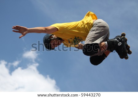 MOSCOW - JULY 31: Luzhniki Olympic arena, Cesar Andrade performs a jump - Stage of a cup of Europe on July 31, 2010 in Moscow - stock photo