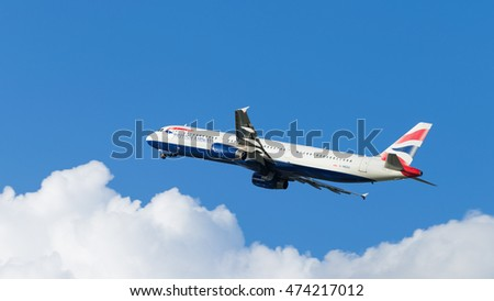 Moscow - July 31, 2016: passenger plane Airbus A321-231 British Airways flies to Domodedovo airport and on a background of blue sky July 31, 2016, Moscow, Russia