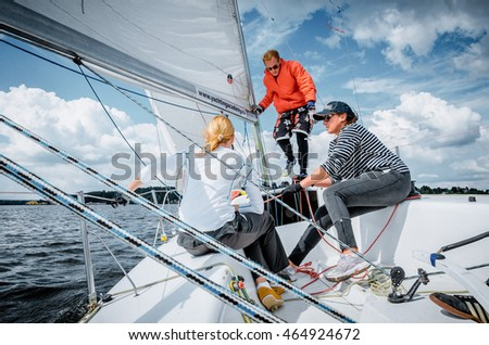 Moscow , July 23 : Team athletes participating in the sailing competition - match race , held in Moscow on Pirogov Reservoir July 23, 2016