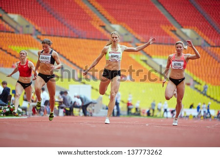 MOSCOW - JUN 11: Finish of female race at Grand Sports Arena of Luzhniki OC during International athletics competitions IAAF World Challenge Moscow Challenge, June 11, 2012, Moscow, Russia. - stock photo
