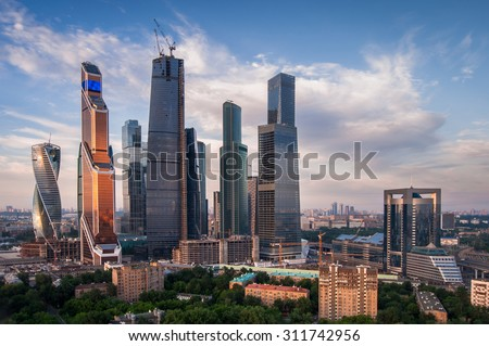 MOSCOW - JUN 4, 2015: Moscow International Business Center at summer day. Years of construction of complex - 1995-2018 - stock photo
