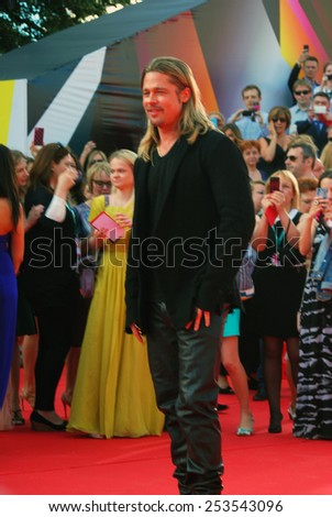 MOSCOW - JUNE 20, 2013: Actor Brad Pitt at XXXV Moscow International Film Festival red carpet opening ceremony.