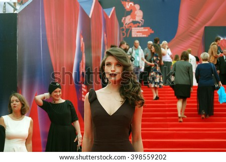 MOSCOW - JUNE 19, 2015: Actress Anna Chipovskaya at XXXVII Moscow International Film Festival red carpet opening ceremony.