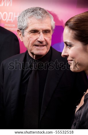 MOSCOW - JUNE 17: Director Claude Lelouch and actress Audrey Dana. Opening Ceremony Of 32st Moscow International Film Festival at Pushkinsky Cinema. June 17, 2010 in Moscow, Russia. - stock photo