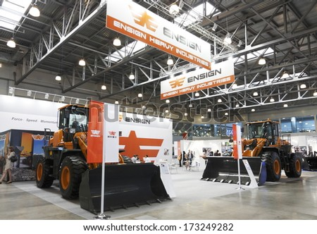 MOSCOW-JUNE 5:ENSIGN HEAUY INDUSTRIES at the International Exhibition of Construction Equipment and Technologies on June 5, 2013 in Moscow