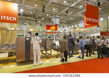 MOSCOW-JUNE 15:Exposition of the German company FRITSCH develops and manufactures equipment for baking all bakery products at the international exhibition MODERN BAKERY 2012 on June 15, 2012 in Moscow - stock photo