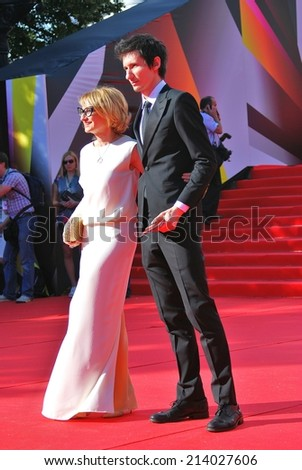 MOSCOW - JUNE 20, 2013: Fashion expert, stylist, tv presenter Evelina Khromchenko at XXXV Moscow International Film Festival red carpet opening ceremony.  - stock photo