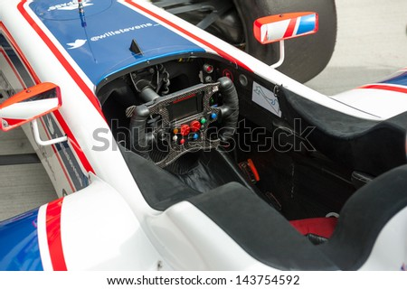 MOSCOW - JUNE 23: Formula car cabine at World Series by Renault in Moscow Raceway on June 23, 2013 in Moscow - stock photo