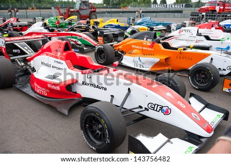 MOSCOW - JUNE 23: Formula Renault 2.0 cars show at World Series by Renault in Moscow Raceway on June 23, 2013 in Moscow - stock photo
