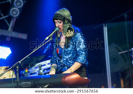 "MOSCOW - JUNE 20: Hiatus Kaiyote performs at XII International Jazz Festival ""Usadba Jazz"" in Tsaritsyno Park on June 20, 2015 in Moscow"