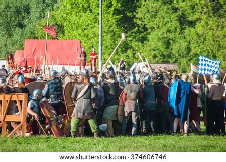 MOSCOW - JUNE 06, 2015: Historical reenactment of Boudica's rebellion of the first century AD. Times and Ages International Historical Festival in Kolomenskoye, Moscow.
