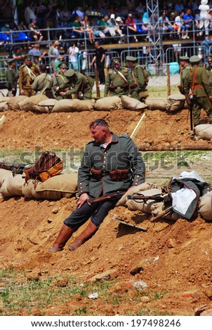 MOSCOW - JUNE 07, 2014: Historical reenactment of Osovets battle held in 1914-1915, one of the key battles of First World War. Times and Ages International Historical Festival in Kolomenskoye, Moscow.