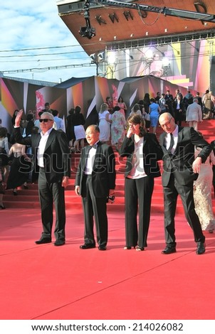 MOSCOW - JUNE 20, 2013: Jury members at XXXV Moscow International Film Festival red carpet opening ceremony.