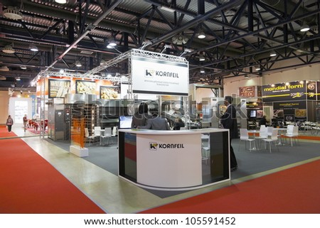 MOSCOW-JUNE 15:MOSCOW-JUNE 15:The stand of Czech companies KORNFEIL producing bakery ovens at the international exhibition MODERN BAKERY 2012 on June 15, 2012 in Moscow - stock photo