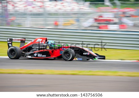 MOSCOW - JUNE 23: Roman Mavlanov of RC Formula team (LUX) race at Formula Renault 2.0 race at World Series by Renault in Moscow Raceway on June 23, 2013 in Moscow - stock photo