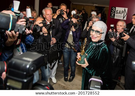 MOSCOW - JUNE, 28: Russian Nina Churikova with prize. 36st Moscow International Film Festival. Closing Ceremony at Rossiya Cinema . June 28, 2014 in Moscow, Russia - stock photo