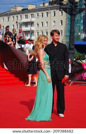 MOSCOW - JUNE 29, 2013:  Supermodel, tv presenter Elena Kuletskaya at XXXV Moscow International Film Festival red carpet closing ceremony. - stock photo