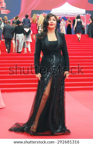 MOSCOW - JUNE 19, 2015: Tv presenter Maria Lemesheva at XXXVII Moscow International Film Festival red carpet opening ceremony. - stock photo