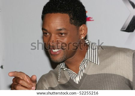 MOSCOW - JUNE 19: Will Smith burst into laughter before holding a press conference , prior to the Russian premiere of 'Hancock' on XXX Moscow film festival on June 19, 2008 in Moscow, Russia. - stock photo