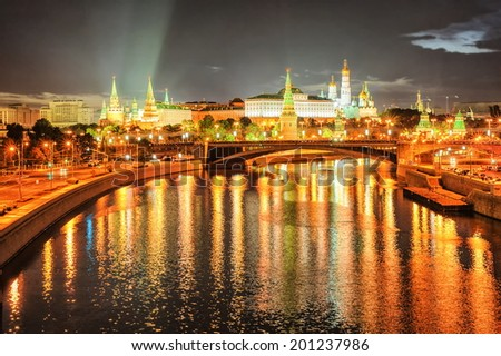 Moscow Kremlin at night, Russia - stock photo