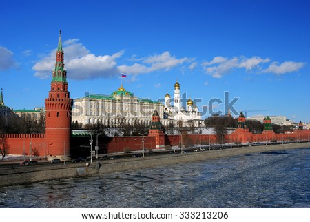Moscow Kremlin in winter. UNESCO World Heritage Site.  - stock photo