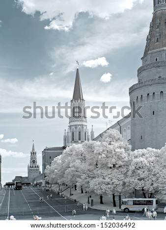 Moscow, Kremlin. Infrared photo
