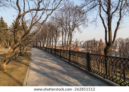 Moscow Kremlin park. Early spring  - stock photo