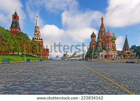 Moscow Kremlin, Red Square and Saint Basil Cathedral - stock photo