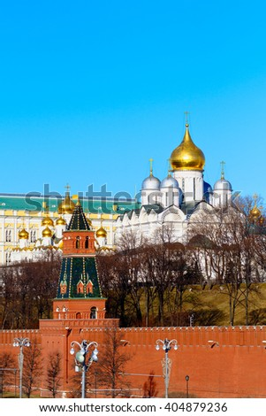 Moscow Kremlin southern wall with Cathedral of the Annunciation and Cathedral of the Archangel in Moscow Kremlin - stock photo