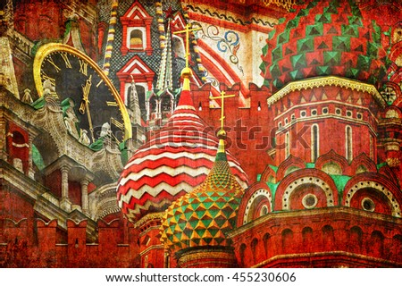 Moscow Kremlin (Spasskaya Tower) and Saint Basil's Cathedral. Ancient Russian Architecture Symbols.( Red Square. Russia). Architectural abstract. Old paper texture background - stock photo