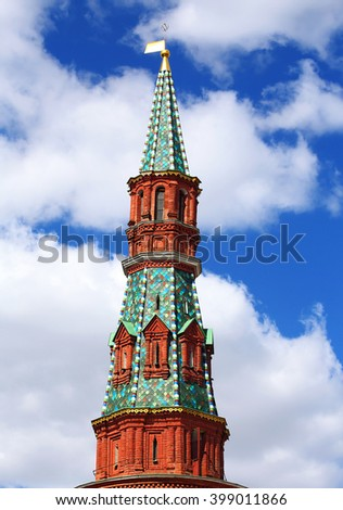 Moscow Kremlin tower built in the Byzantine style - stock photo