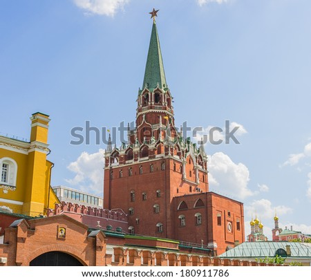 Moscow Kremlin, Troitskaya (Trinity) Tower, Moscow, Russia, East Europe - stock photo