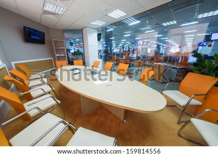 MOSCOW - MAR 5: Conference room in office buildings news agency RIA Novosti with round table on March 5, 2013 in Moscow, Russia. - stock photo