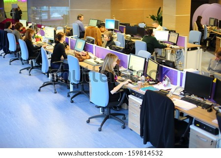 MOSCOW - MAR 5: Rows of workplaces in office buildings news agency RIA Novosti on March 5, 2013 in Moscow, Russia. - stock photo