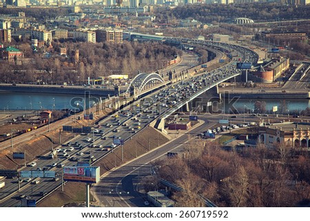 Moscow - march 14: Cars driving on the Third Transport Ring. Russia, Moscow, march 14, 2015