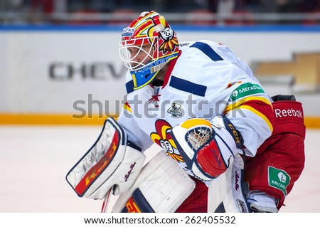 MOSCOW - MARCH 12: H. Karlsson (1), goaltender of Yokerit team on a gate on hockey game Yokerit vs CSKA on Russia KHL championship on March 12, 2015, in Moscow, Russia. CSKA won 3:2 - stock photo