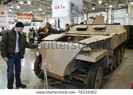 MOSCOW - MARCH 25: Light protective Panzer Sd Kfz 250/5 on display at the Moscow Exhibition of technical antiques on March 25, 2011 in Moscow, Russia.