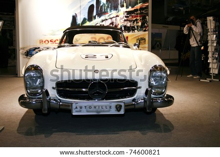 MOSCOW - MARCH 25: Mercedes-Benz 300 SL on display at at the Moscow Exhibition of technical antiques on March 25, 2011 in Moscow, Russia. - stock photo