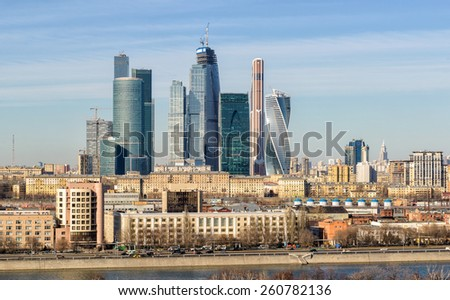 MOSCOW - MARCH 13, 2015: Moscow-city (Moscow International Business Center) . Moscow-city is a modern commercial district in central Moscow. - stock photo