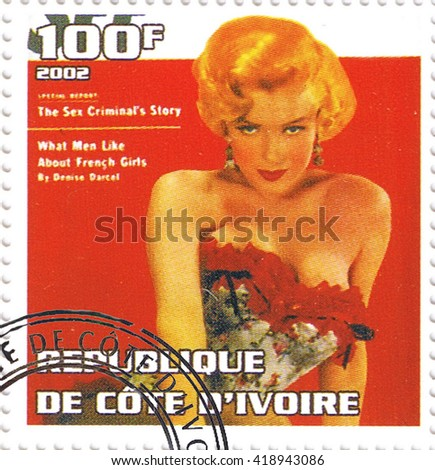 MOSCOW - MAY 11, 2016: A stamp printed in Republic of Cote d'Ivoire depicting an image of legendary Hollywood actress Marilyn Monroe, circa 2002