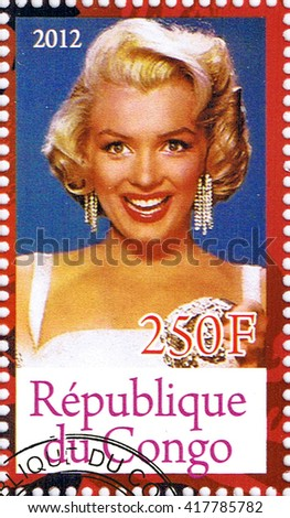 MOSCOW - MAY 09, 2016: A stamp printed in Republic of the Congo depicting an image of legendary Hollywood actress Marilyn Monroe, circa 2012 - stock photo