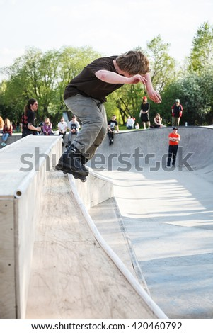 MOSCOW - 7 MAY, 2016 : Aggressive rollerblading competition AZ Picnic took place at skate park Sadovniki in memory of rollerblader Andrey Zaytcev who passed away in 2012