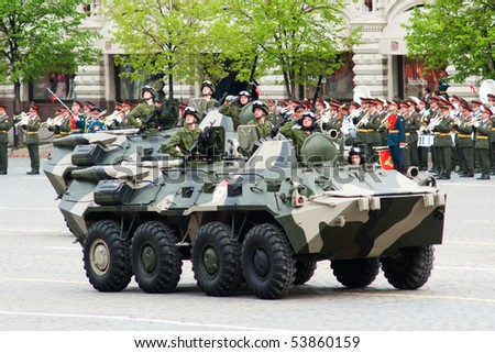 MOSCOW - MAY 6: BTR-80. Dress rehearsal of Military Parade on 65th anniversary of Victory in Great Patriotic War on May 6, 2010 on Red Square in Moscow, Russia
