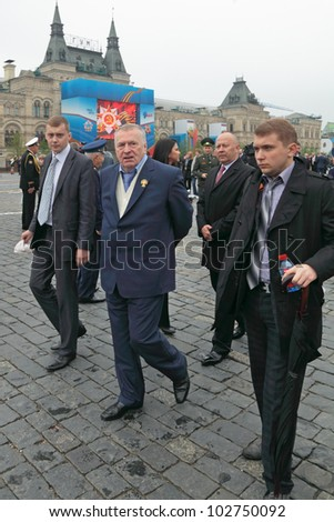 MOSCOW - MAY 09: Celebration of the 67th anniversary of the Victory Day (WWII) on Red Square on May 9, 2012 in Moscow, Russia. Chairman of the liberal democratic party of Russia Vladimir Zhirinovsky
