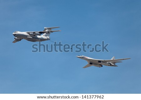 MOSCOW - MAY 09: Celebration of the 68th anniversary of the Victory Day (WWII). The aerial refueling tanker Ilyushin Il-78 and strategic bomber Tupolev Tu-160 on May 9, 2013 in Moscow, Russia