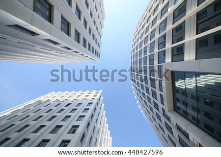 MOSCOW - MAY 20, 2015: Facades of modern business center Aquamarine, view from the bottom point