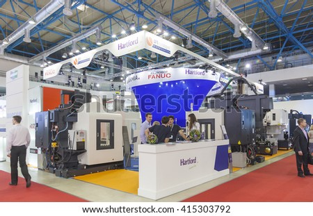 MOSCOW-MAY 30, 2013: Metalworking machines Taiwan's SHE HONG / HARTFORD at the International Trade Fair METALLOOBRABOTKA