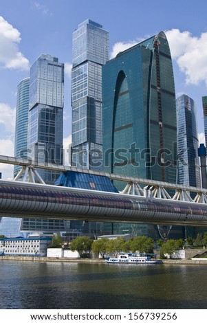 MOSCOW - MAY 23: modern buildings and Bagration bridge in business centre Moscow-city May 23, 2010 in Moscow, has been built from 2004 till 2013 under construction.