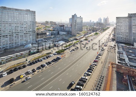 MOSCOW - MAY 10: New Arbat Street at spring day, on May 10, 2013 in Moscow, Russia. Length of street is 1.5 km.